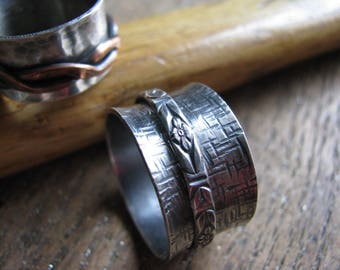 Linen Texture Sterling Silver Spinner Ring
