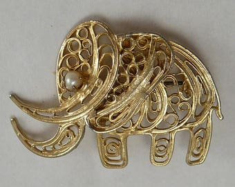 Gold Filigree Elephant Pearl Pin Vintage Brooch Good Luck Elephant Trunk Up