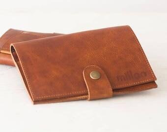 Brown leather bifold wallet, phone wallet bifold womens large leather phone wallet minimalist - Iole Wallet