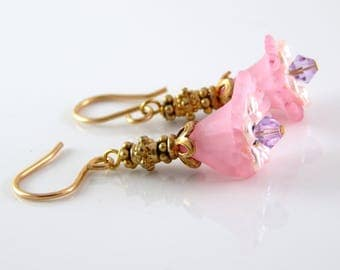 Lucite Flower Earrings ~ Pink Flower Earrings ~ AdoniaJewelry