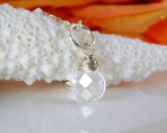 Rock Crystal Quartz Charm in Sterling Silver - Add A Charm - add a dangle - stone charm ~ AdoniaJewelry