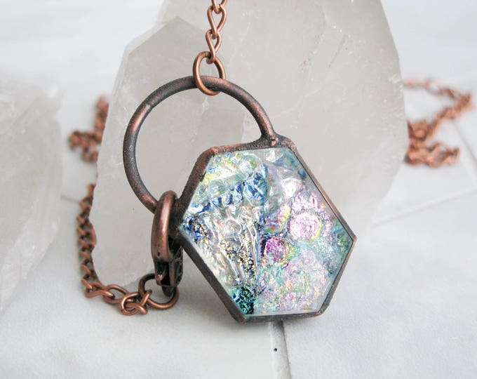 Boho necklace Fused Glass Pendant Electroformed Copper Necklace Modern Jewelry Large Glass Pendant Statement necklace OOAK