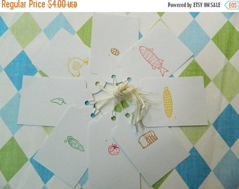 ON SALE GIFT Tag Set - Retro Kitchen - Food Gift Tags - Foodie - Baker - Cook - Chef - Butcher - Handstamped - Foodie Stocking Stuffer - All