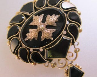 Antique 1800s Victorian Mourning Brooch 10k Rose Gold Onyx Seed Pearl Antique Jewelry Jewellery