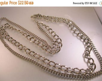 """XMAS in JULY SALE Heavy Curb Double Chain Silver Tone Chain Belt 43"""" Ladies Vintage Accessory"""