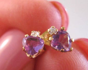 XMAS in JULY SALE 10k Yg Amethyst Heart Shaped Stud Earrings Vintage Jewelry Jewellery