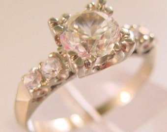SALE & FREE SHIPPING Vintage 10k Wg .8ct White Topaz Engagement Ring Size 4