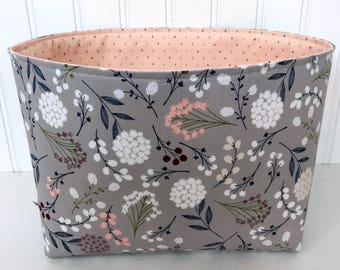 Organizer Storage Bin,Basket,Bin,Nursery Decor,Diaper Storage,Fabric Bin,Fabric Basket,Home Decor,Flowers,Gray,Blush Pink,Blush,Grey