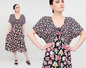 Vintage 90s does 40s Dress | Rayon Floral Dress | Button Down Dolman Sleeve | Spring Summer Garden Party Midi Dress | Black Pink | Large L