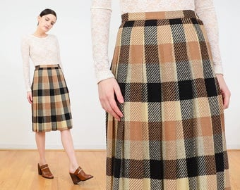 Tan plaid skirt | Etsy