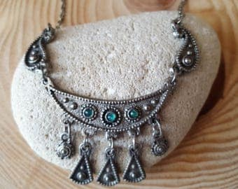 New Listing Sale... Amazing Antique Yemenite Green Silver Fringe Crescent Necklace. Yemenite Jewelry. Israel Jewelry. Crescent Necklace