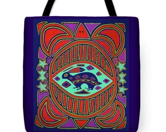 Southwest Turtle PolyPoplin Tote Bag Gift - Tribal Turtle Throw Pillow Decor Gift - SW Tortuga Re-usable Tote Bag - Turtle Laptop Tote Bag