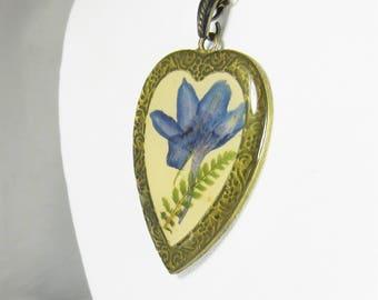 Blue Larkspur and Fern,   Erised,  Pressed Flower Pendant, Real Flower Necklace,  Resin (1923)