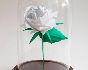 Eternal rose origami white rose in large decorative globe