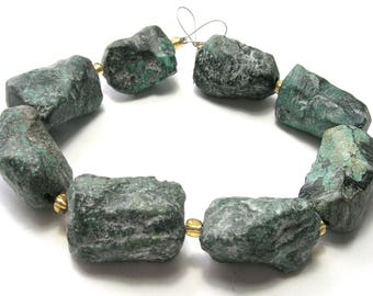 Natural Turquoise Hand Cut Nugget Beads (20 - 25mm) - (A)