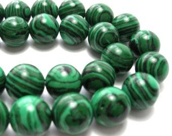 Malachite Round Beads (10mm) - Gemstones
