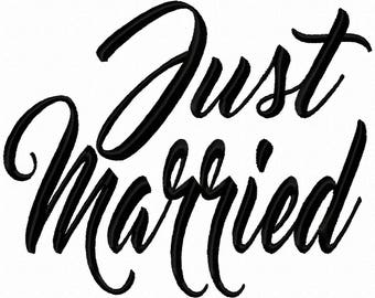 Just Married Machine Embroidery Design 4x4 7x5 10x6 Instant download shirt bib wedding shower gift daughter son best friend honeymoon decor