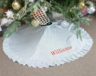 personalized black white ticking stripe christmas tree skirt large - Large Christmas Tree Skirts