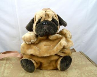Cute Vintage Dog Pug 80s Plush Stuffed Animal 90s Backpack