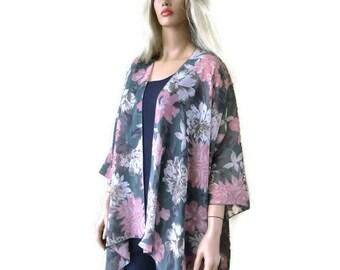 Xanadu floral  Boho Kimono/ Kimono cardigan- Green with floral print,Lagenlook chiffon kimono-oversize clothing