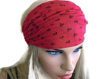 Watermelon Red Anchor headband, boho cotton hairband-Marina style stretch headband, Nautical hairband/turban