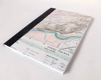 River Dovey - Snowdonia (Dolgellau) Map 1984 #6 - Recycled Vintage Map Handbound Notebook with Upcycled Blank Pages