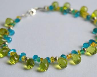 Beaded Apatite, Peridot and Mandarin Garnet Bracelet, Beaded Bracelet, Silver Bracelet, Gemstone Bracelet