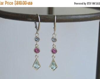 SALE Hexagon dangly earrings, kite earrings, purple garnet dangly earrings, aquamarine earrings, white gold hexagon dangly earrings