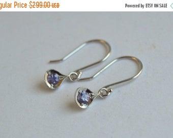 SALE Purple Sapphire Earrings, White Gold Dangly Earrings, 14 kt Gold Earrings, Sapphire Earrings, Purple Sapphire Earrings, September Birth