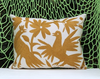 gold Pillow Sham-Otomi Embroidery Ready to ship.