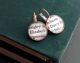 Book Lover Gift, Jane Austen Jewellery, Literature Earrings