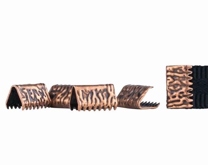 500pcs. 10mm or 3/8 inch *NO LOOP* Antique Copper Ribbon Clamp End Crimps - Artisan Series