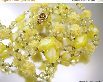 45% off Sale Vintage Yellow Necklace Long 53 Inches Givre Glass Beads Aurora Borealis Crystal
