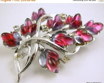 45% off Sale Vintage Coro Iris Glass Silvertone Flower Brooch