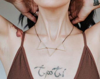 Three Triangles Gold Brass Necklace