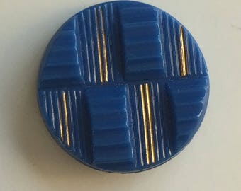 Vintage Czech Glass Button - Blue with Gold Metallic