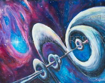 Space Science fiction art Original acrylic painting Interdimensional Corridor Astronomy art Fantasy nebula galaxy painting Stars painting