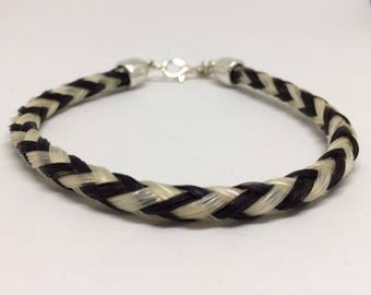 8.5 Inch Black/White Horse Hair Braided Horsehair Bracelet - 6MM Round Braid