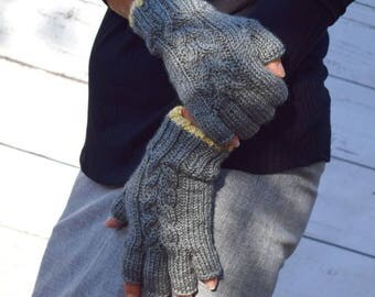 Knit fingerless gloves gray light yellow womens gloves womens accessories warm mittens gift for her Chrismas Birthday gift under 40