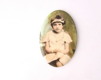 Vintage Celluloid Photo Pocket Mirror Purse Art Deco Colorized Young Lady Child Girl