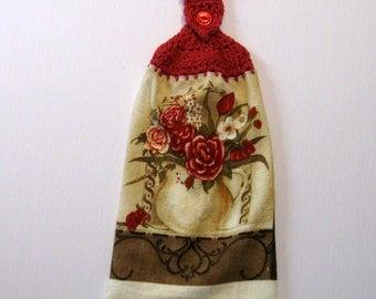 Kitchen Towel, Roses, Hanging Towel, Kitchen supplies, Handmade by NormasTreasures