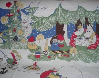 Moomin fabric Winter Moomin cotton vintage Finlayson Christmas