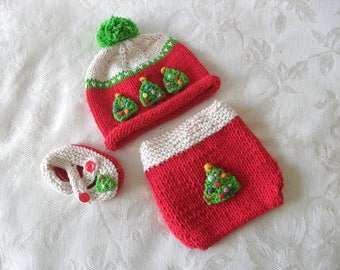 Baby Hats Knitting Knit Baby Hat Knitted Baby Hats Hat Knitted Christmas Baby Hat Christmas Diaper Cover Christmas Tree Baby Cloche