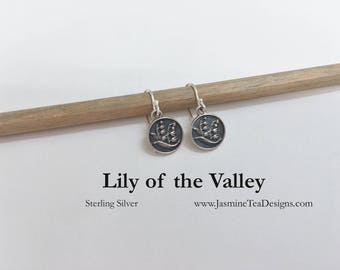 Lily Of The Valley Sterling Silver Earrings, Antique Silver Earrings