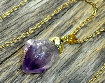 Easter SALE - Raw Amethyst Necklace, Amethyst Pendant, Amethyst Crystal, Gold Amethyst, Amethyst Necklace, Amethyst Jewelry, Amethyst, 14k