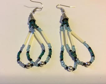 Porcupine quill drop earrings with blue & green