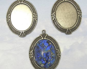 Cabochon Settings Antique Silver 20x15 mm 1 pc Oval Settings Brass Stamping M-45