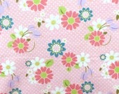 Kids Knit Fabric - Riley Blake Knit Cotton Lycra Fabric - Pink Daisy Knit Fabric -  Floral Cotton Spandex