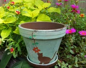 Painted Flower Pot - Planter with Cat - Cat Memorial Gift - Cat Flower Pot - Cat Lover Gift