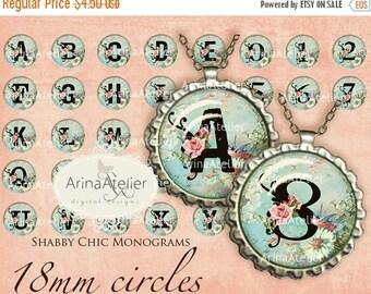 SALE 30%OFF - Shabby Chic Monograms 18mm CIRCLES - Alphabet Circles Digital Collage Sheet Bottle Caps Digital Labels Embellishments Shabby C